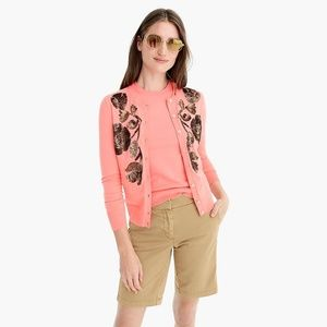 J. Crew Pink Sequin Floral Jacket Cotton Cardigan